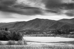Mountain Vista in Cades Cove, Tennesee. A valley opens up among the mountains in Cades Cove, Tennessee Stock Image