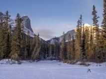 Mountain vista from a frozen Policemen`s Creek Royalty Free Stock Photos