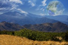 Terraformed Moon. View from the Earth. Mountain Vista. Terraformed moon seen from the Earth. 3D rendering Royalty Free Stock Photography