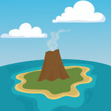 Mountain volcano eruption lava nature landscape vector illustration. Stock Image