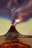 Mountain Volcano. A newly formed volcano smokes with hot steam as hot lava flows around it Stock Photography