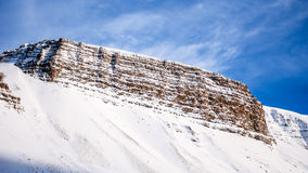 Mountain wall. Mountain forming up a wall. Iceland, winter Stock Photo