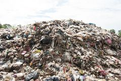 Mountain waste from urban society in underdeveloped countries. South East Asia. Mountain waste from urban society in underdeveloped countries stock photography
