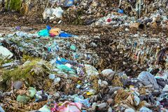 Mountain waste from urban society in underdeveloped countries. South East Asia. Mountain waste from urban society in underdeveloped countries royalty free stock images