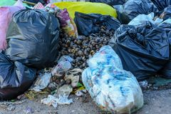 Mountain waste from urban society in underdeveloped countries. South East Asia. Mountain waste from urban society in underdeveloped countries Stock Images