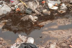 Mountain waste from urban society in underdeveloped countries. South East Asia royalty free stock images