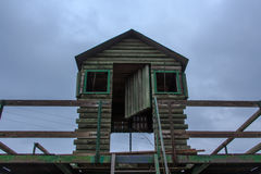 The mountain watchman`s wooden hut always at the top. The mountain watchman`s wooden hut always royalty free stock photo