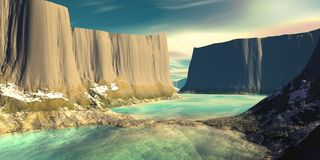 Mountain and water. 3D illustration vector illustration