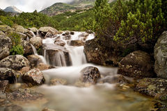 Mountain water in Mlynicka valley near Strba tarn. Royalty Free Stock Image