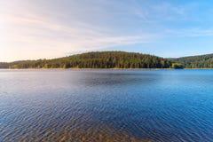 Mountain water reservoir Josefuv Dul, aka Josefodolska Dam, Jizera Mountains, Czech Republic. Sunny summer day.  Royalty Free Stock Image
