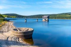 Mountain water reservoir Josefuv Dul, aka Josefodolska Dam, Jizera Mountains, Czech Republic. Sunny summer day.  Stock Photos