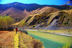 Mountain Water tourists. Beautiful landscapes in Southwest China Royalty Free Stock Image