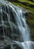 Mountain waterfall. A waterfall is usually a geological formation resulting from water, often in the form of a stream flowing over an erosion-resistant rock Stock Photography