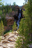Mountain Waterfall. In the rugged mountains of Utah is the Uintah mountains. This is just one of many waterfalls that has carved out a chasm in the side  of the Royalty Free Stock Images