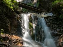 Mountain waterfall. Photo taken in the spring - Slovak Paradise - KYSEL Royalty Free Stock Photography