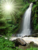 Mountain waterfall. Beautiful waterfall in the National Park Tercino valley in the mountains Novohradske-Czech Republic Stock Photo
