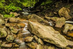 Mountain waterfall. Waterfall in Beskidy mountains, Poland royalty free stock photo