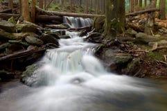 Mountain waterfall in bohemia. Mountain creek in the Czech republic Royalty Free Stock Image