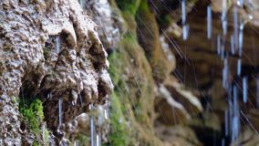 Mountain waterfall, creek, river, stream, - flowing running water background, water splashes over stones in sunlight, drops of wat. Er 1 stock footage