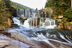 Mountain waterfall in the Czech Republic royalty free stock photography