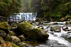 Mountain waterfall in the Czech Republic royalty free stock images