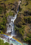Mountain waterfall in forest, Annapurna region, Nepal. Stock Photo