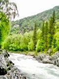 Mountain waterfall image watercolor Stock Photo