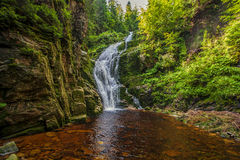 Mountain waterfall. Kamienczyka in Poland Stock Photos