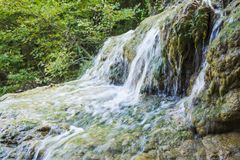 Mountain waterfall at polilimnio, Messinia, Greece. Mountain waterfall view at polilimnio, Messinia, Greece Stock Image