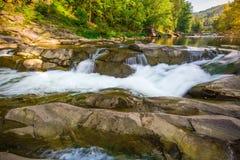 Mountain waterfall Probiy in the wood. Ukrainian Carpathians. Mountainwaterfall Probiy in the wood landscape. Ukrainian Carpathians Stock Images