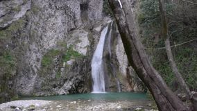 Mountain Waterfall and River in Forest stock footage