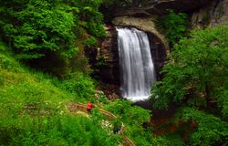 Mountain waterfall and trail stock photos