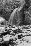 Waterfall in Cirque de Saint-Meme, in Chartreuse Black and white royalty free stock photos