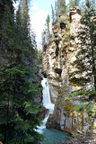 Mountain waterfalls with natural hoodoos. Mountain waterfalls beside natural hoodoos in the Canadian Rockies Stock Image