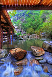 Mountain waters. View of cascading water in the Wudang Shan Temple in the Hubei district of China Royalty Free Stock Photos