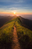 Mountain. The way of climax. Mountain slope have a way for walk. Background is sunset royalty free stock images
