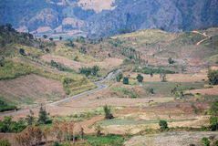 Mountain way. The way between mountain between Nan and Phayao province, Thailand Royalty Free Stock Photos