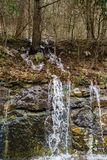 Mountain Wet Weather Waterfall in Goshen Pass. Wet weather mountain waterfall located in Goshen Pass located in Jefferson National Forest in Rockbridge County Royalty Free Stock Image