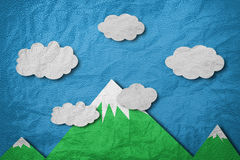 Mountain with white cloud and blue sky, leather paper cut style. Mountain with white cloud and blue sky,leather paper cut style Royalty Free Stock Photos