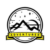Mountain wilderness adventure travel sticker badge. Adventurer inspirational wilderness outdoor adventure travel sticker badge. Mountain landscape at dusk with Stock Image