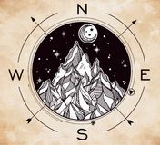 Mountain wind rose vector illustration. Royalty Free Stock Photography
