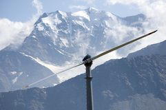 Mountain wind turbine. An high mountain wind turbine to supply energy to a remote area Stock Images