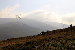 Mountain wind turbines Royalty Free Stock Images