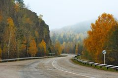 Mountain winding road in fall Royalty Free Stock Image