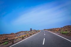 Winding road through Tenerife in Spain royalty free stock images