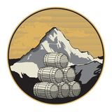 Mountain wine or brandy label. Vector illustration royalty free illustration