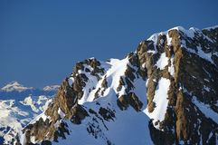 Mountain in winter. Snowy mountain ridge in austria in winter royalty free stock photography