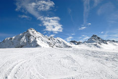 Mountain in winter. On the slopes of the Alps in winter Stock Photos