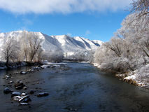 Mountain Winter. Late Winter snow in a Colorado Rockies mountain town royalty free stock images