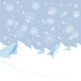 Mountain winter christmas and new year. Snow falling down on mountain from winter christmas and new year sky Royalty Free Stock Photos